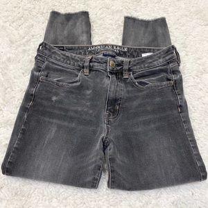 American Eagle Hi Rise Jegging Crop Gray Jeans 6